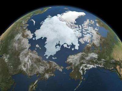Eine Illustration der Nasa zeigt die Eisausdehnung in der Arktis. Foto: NASA Goddard's Scientific Visualization Studio
