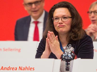 Wiedergewählt mit magerem Ergebnis: SPD-Generalsekretärin Andrea Nahles. Foto: Hannibal