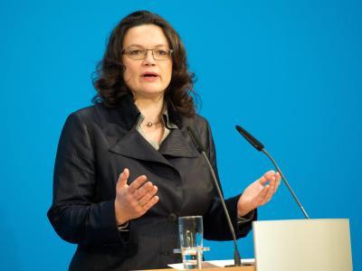 SPD-Generalsekretärin Andrea Nahles hat weiter erhebliche Vorbehalte gegen die von der CSU geforderte Pkw-Maut. Foto: Maurizio Gambarini