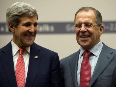 Zufriedenheit mit der Einigung: US-Außenminister Kerry und sein russischer Amtskollege Lawrow. Foto: Martial Trezzini