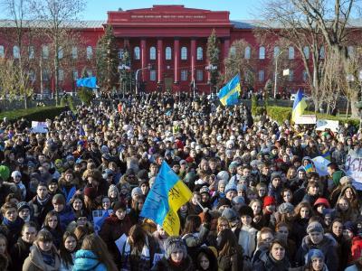 In Kiew demonstrieren die Massen für eine EU-Annäherung der Ukraine. Foto: Alexey Furman