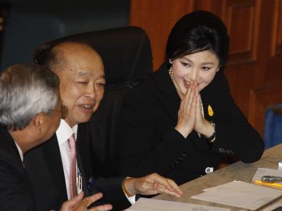 Yingluck wurde demokratisch gewählt und will nicht zurücktreten. Foto:Narong Sangnak