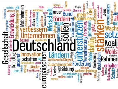 Wortwolke der am häufigsten benutzten Begriffe aus dem Koalitionsvertrag. Foto: wordle.net dpa
