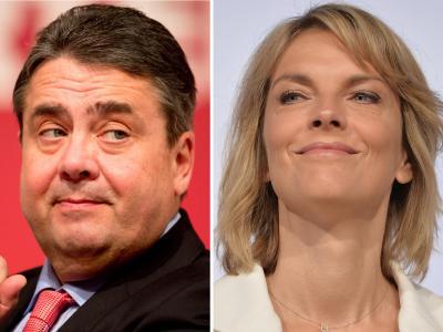 SPD-Chef Sigmar Gabriel und die ZDF-Moderatorin Marietta Slomka lieferten sich im «heute-journal» ein Wortgefecht. Foto: Kay Nietfeld/Bernd von Jutrczenka