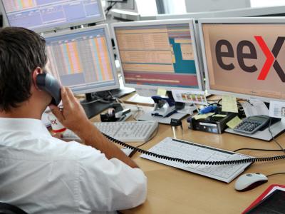 Marktsteuerungsraum der Energiebörse EEX in Leipzig. Foto: Jan Woitas/Archiv