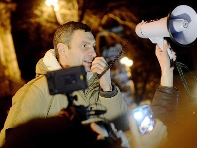 Der Boxweltmeister und Oppositionspolitiker Vitali Klitschko will den Machtwechsel in der Ukraine. Foto: Filip Singer