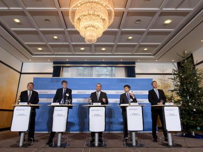 Pressekonferenz zum Auftakt der Innenministerkonferenz in Osnabrück. Foto: Friso Gentsch