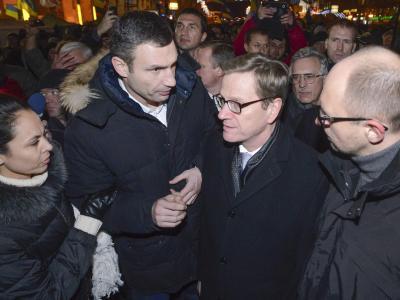 Guido Westerwelle vertritt in Kiew seine «europäischen Werte». Foto:Andrew Kravchenko