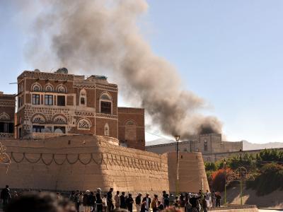 Rauch über Sanaa