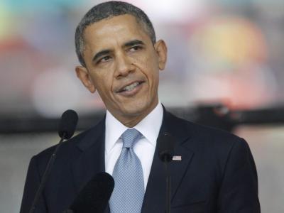 US-Präsident Barack Obama spricht bei der Trauerfeier in Johannesburg. Foto: Kim Ludbrook
