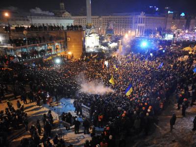 Der Maidan wird rund um die Uhr belagert. Foto: Str