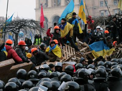 Innenminister Witali Sachartschenko sagte einer Mitteilung zufolge, dass es keine Erstürmung des Platzes der Unabhängigkeit geben werde. Foto:Anatoly Maltsev