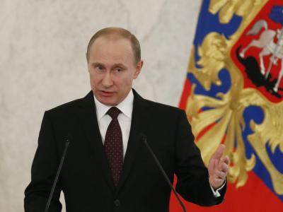 Der russische Präsident Wladimir Putin hält seine Rede an die Nation in Moskau. Foto: Juri Kochetkov
