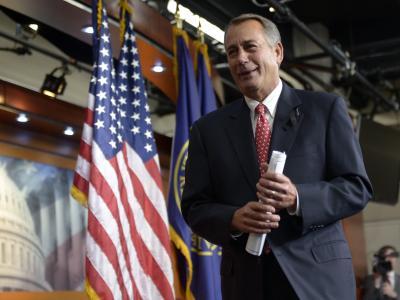 Der republikanische Sprecher des Abgeordnetenhauses, John Boehner, nach der Pressekonferenz. Foto: Shawn Thew