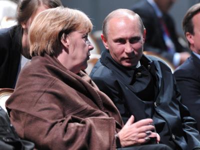 Moskau hofft auf eine Stabilisierung im Verhältnis zwischen Kremlchef Wladimir Putin und Bundeskanzlerin Merkel. Foto: Alexey Druginyn/Ria Novosti/Archiv