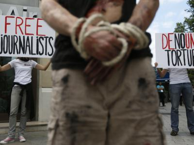 Protestaktion von Reporter ohne Grenzen