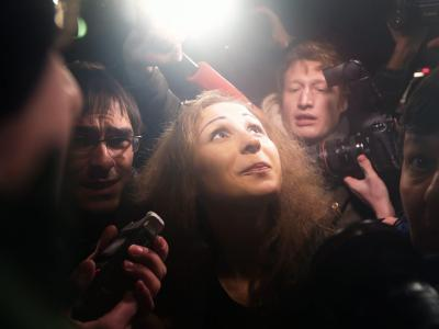 Maria Aljochinas Ankunft auf dem Bahnhof inMoskau. Foto: Maxim Shipenkov