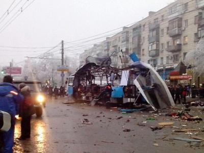 Das Wrack des zerstörten Busses in Wolgograd. Foto: Interior Ministry Press Service