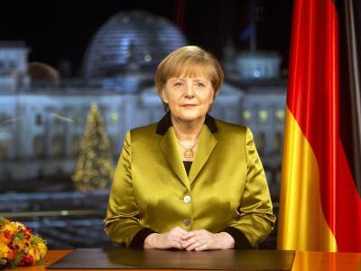 Bundeskanzlerin Angela Merkel während ihrer Neujahrsansprache im Bundeskanzleramt in Berlin. Foto: David Gannon