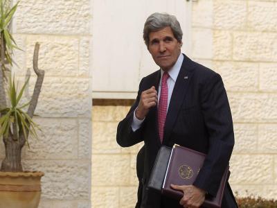 US-Außenminister Kerry am Samstag in Ramallah im Westjordanland. Foto: Atef Safadi