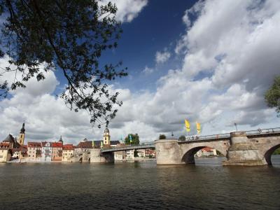 Unterhalb der Alten Mainbrücke in Kitzingen kam das Schiff aus der Fahrrinne. Foto: Daniel Karmann/Archiv