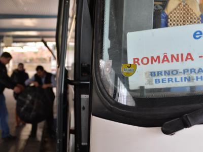 Rumänischer Reisebus in Berlin