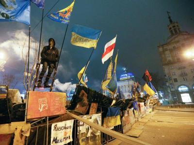 Protestcamp o, Kiew: Nach wochenlangen Protesten der ukrainischen Opposition um Boxer Klitschko schlägt die Führung zurück. Foto: Sergey Dolzhenko