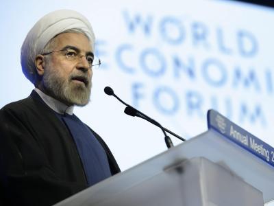 Irans Präsident Hassan Ruhani spricht beim Weltwirtschaftsforum in Davos. Foto: Laurent Gillieron