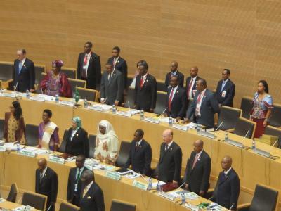 Zu Beginn des AU-Gipfels erhoben sich die Delegierten zum Gedenken an Nelson Mandela von ihren Plätzen. Foto: Carola Frentzen