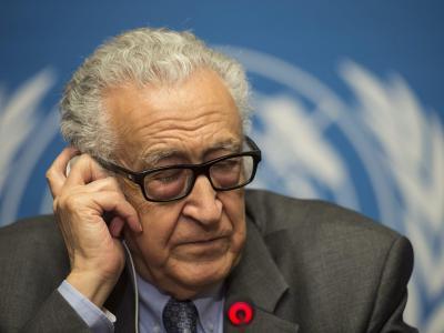Der UN-Sondegesandte Lakhdar Brahimi während der Friedensgespräche inGenf. Foto: Jean-Christophe Bott