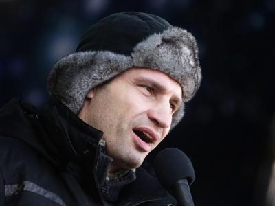 Klitschko nach siner Rückkehr nach Kiew: «Bildet Bürgerwehren in jedem Hof, in jedem Bezirk, in jedem Haus.» Foto: Maxim Shipenkov