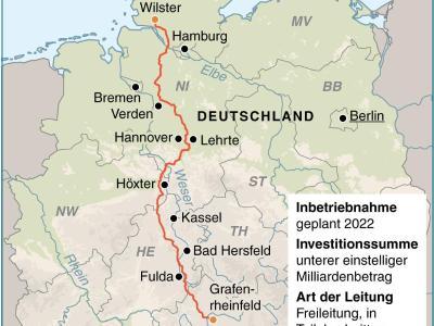 Karte zum Stromtrassenverlauf von Schleswig-Holstein nach Bayern. Foto: J. Reschke
