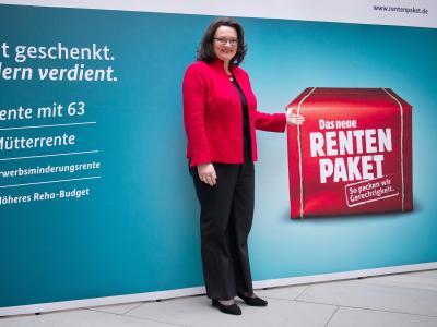 Ministerin mit Rentenpaket: Andrea Nahles wirbt für ihre Reform. Foto: Daniel Naupold