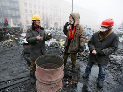 Ukrainische Regierungsgegner im Zentrum von Kiew. Foto:Sergey Dolzhenko