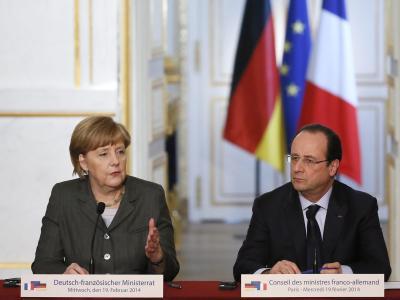 Der französische Präsident Francois Hollande und Angela Merkel sind für Sanktionen gegen die Verursacher der Gewalt in der Ukraine. Foto: Ian Langsdon