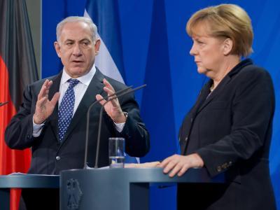 Bundeskanzlerin Angela Merkel mit dem israelischen Ministerpräsidenten Benjamin Netanjahu. Foto: Tim Brakemeier/Archiv