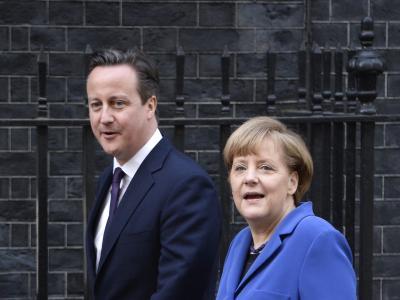 Bundeskanzlerin Angela Merkel zu Besuch bei ihrem englischen Amtskollegen David Cameron. Foto: Facundo Arrizabalaga
