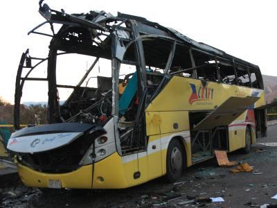 Zerstörter Touristenbus