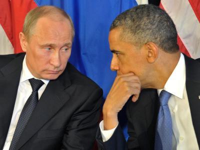 Im Telefonkontakt: Wladimir Putin und Barack Obama. Foto: Alexei Nikolsky / Ria Novosti / Archiv