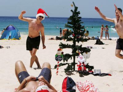 Weihnachtsparty am Strand