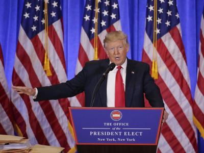 Der designierte US-Präsident Donald Trump bei seiner ersten Pressekonferenz seit Juli 2016. Foto: Seth Wenig