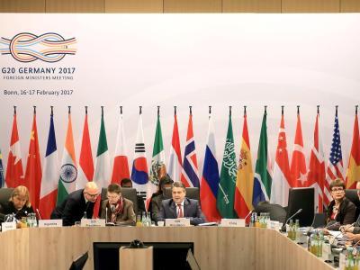 Bundesaussenminister Sigmar Gabriel eröffnet die Abschlußsitzung der G20 Außenminister. Foto: Oliver Berg
