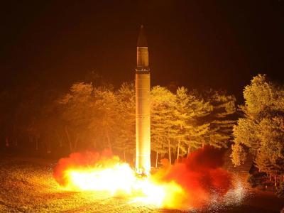 Nach Angaben der nordkoreanischenRegierung zeigt das Foto den Test einer Hwasong-14-Interkontinentalrakete. Foto: KCNA