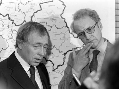 In sehr viel jüngerenJahren:Heiner Geissler (l.) und Edmund Stoiber 1979 in München. Foto: Hartmut Reeh