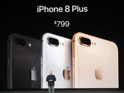 Apples Marketing-Vizepräsident Phil Schiller präsentiert das neue iPhone 8 Plus. Foto: Marcio Jose Sanchez