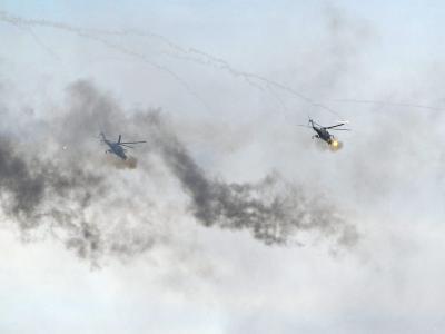 Kampfhubschrauber während eines früheren Sapad-Manövers.Foto: Alexey Druginyn / Ria Novosti