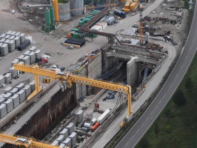 Das Nordportal des im Bau befindlichen Bahntunnel Rastatt: An der Baustelle hatten sich Bahngleise abgesenkt. Foto:UliDeck
