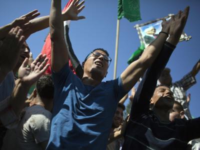 Der Bruderzwist ist vorbei:Palästinenser jubeln inGaza über die Unterzeichnung eines Versöhnungsabkommens zwischen Hamas und Fatah. Foto: Khalil Hamra