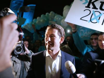 ÖVP-Spitzenkandidat Sebastian Kurz am Donnerstag bei einemAuftritt in Wien. Foto: Georg Hochmuth
