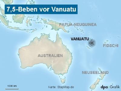 Ein Erdbeben der Stärke 7,5 hat den Pazifikinselstaat Vanuatu erschüttert. (Karte: Stepmap.de)